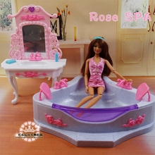 New Christmas/Birthday Gift Children Bathtub dressing table Play Set Doll Furniture Bathroom Accessories For barbie kurhn(China)