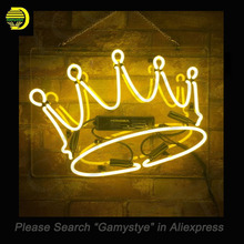 Crown Yellow Night Club Neon Sign Real Glass Tube Cool Neon Bulbs Recreation Room Garage Frame Sign Store Display neon lights(China)