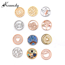 Keamsty My Coin 33mm Mixed Design Life Tree Angel Coin Disc Necklaces for Women Top Design Jewellery 12pcs/lot