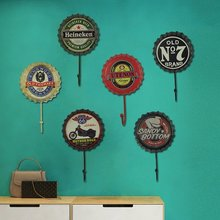 Retro Beer Bottle Cap Wall Hanging Hooks Personalized Soft Decorations Iron Door Back Clothes Hooks Creative Clothing Shop