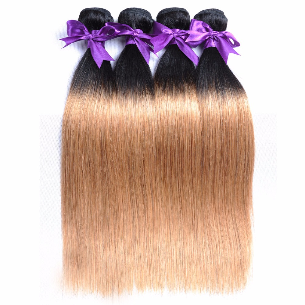 Ombre Brazilian Hair 1B 27 Straight Hair Weave Bundles 2 Two tone honey blond human hair extensions (8)