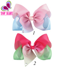 2Pcs/lot Handmade Large Ombre Signature Hair Bows Boutique Big Ribbon Hair Bow With Hairgrips Hair Accessories Girl Hair Clips