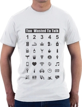 T Shirts O-Neck Tops Drunk Traveler Communicate With 35 Icons Funny Icon T Shirt Gift Idea T Shirt Short Sleeve Tops(China)