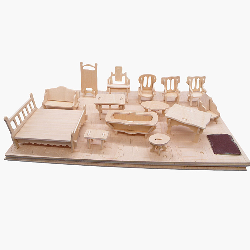 34pcs/set 1:24 Dollhouse Mini Furnitures Children's Educational Wooden Doll Furniture Toy,3d Woodcraft Puzzle Model Kit Toy(China (Mainland))