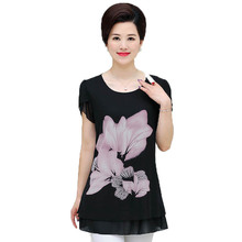 Middle Aged Women's Summer Chiffon Blouses Flower Print Tops Mother Casual Cap Sleeve Tunic Woman Black O-neck Blouse 4XL 3XL 2X