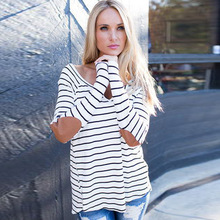 fashion women v-neck strip printed loose blusas wrist patchwork shirt tops  0130#