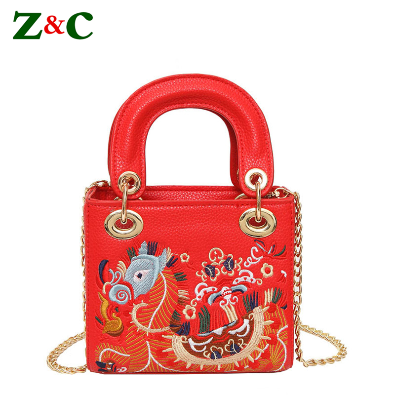 Brand Women Classic Handbags Chain Shoudler Bags Embroidery Dragon Chic Lady Small Tote Crossbody Bags National Style Embroidery<br>