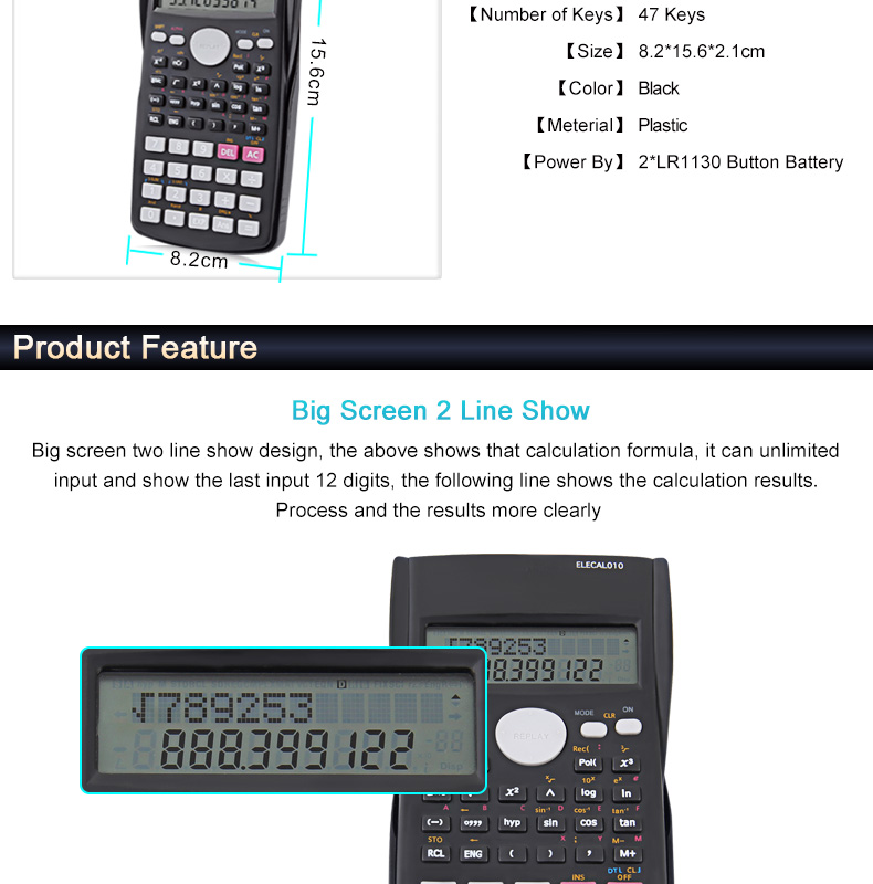 EASYIDEA Scientific Calculator 12 Digits Student Calculadora 240 Multi-function Calculator Cientifica 2 Line LCD Display 2
