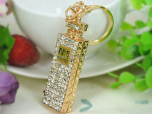 Long Perfume Fragrance Bottle Keyring Rhinestone Crystal Charm Jewellery Women Bag Pendant Car Key Chain Gift
