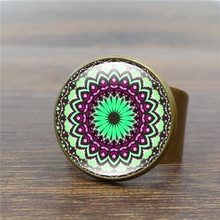Creative Vintage Rings for Women Mandala Flower Art Glass Dome Antique Ring India Yoga OM Symbol Jewelry Adjustable