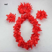 Hawaiian Flower Lei Headband Anklet Hula Garland Flower headband Wreath Birthday Party Supplies New Year(China)