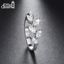Effie Queen 2017 New Style Silver Color Ring for Women with Cubic Zircon Stone Vintage Leaf Shape Rings DR129