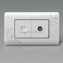 Free Shipping, Kempinski Luxury Computer and TV Socket, Wall Internet Outlet, Ivory White,118mm*72mm