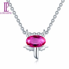 Lohaspie Solid 18K White Gold Natural Gemstone Ruby Tiny Taurus Pendant & Necklace Fine Jewelry For Women's Gift 2017 NEW(China)