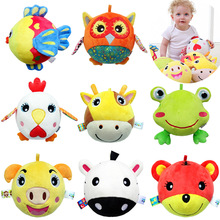 0-12 months Soft Animal Baby Toys Big Shake Ring Hang Grip Toy Rattle Squeaker Cute Cartoon Animal Plush Toys For Newborns