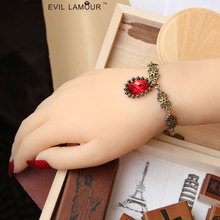 Gothic Punk Red Bead Bracelets bangles Halloween Party Fashion Accessories Hand Craft Jewelry Bracelet Woman 2015 Brand WS-18