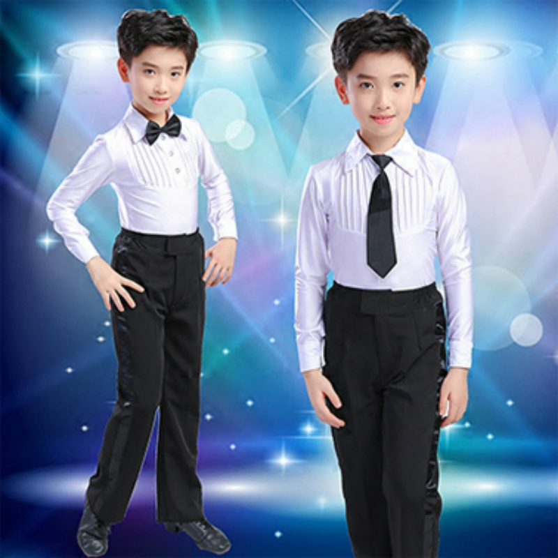 2018 ballroom boy Latin dancing tango desigual competition suit children's professional dance wear boy salsa shirt +dance pants