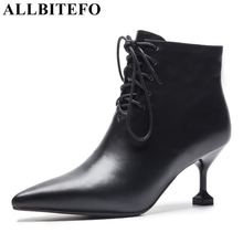 ALLBITEFO hot sale genuine leather (high) 저 (힐 women boots fashion brand 씬 힐 ankle boots women winter 눈 warm girls 부츠(China)
