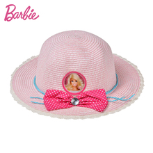 Barbie Fashion Children's Kids's Wide Large Brim Floppy Sunhat Cute Beach Cap New Flat Top Straw Cap for Kid(China)