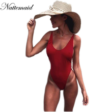 NATTEMAID Sexy bodysuit 2017 summer Red backless elastic women jumpsuit rompers Casual Ladies Solid color bodycon beach wear(China)