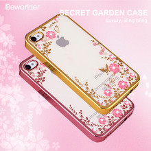 For Apple iphone 4S Case iphone 4 Bling Soft TPU Rhinestone Chic Flower Transparent Gold Plating Phone Back Cover(China)