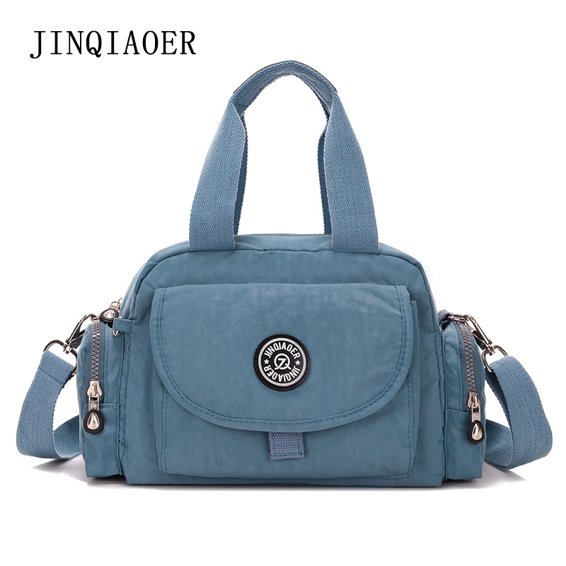 JINQIAOER 2017 Spring Women Messenger Bags Zipper Waterproof Nylon Handbag Casual Shoulder Bags Washed Nylon Cloth Many Pockets<br><br>Aliexpress