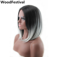 35 cm ombre black gray wig straight hair heat resistant synthetic wigs bob for black women short WoodFestival