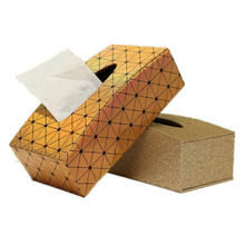 Royal Gold Leather Tissue Paper Box Holder Case European Style Home Hotel Car Pumping Tray Table Decorative Supplies(China)