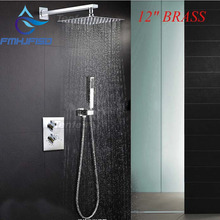 "Buy Free Wholesale Retail Promotion Modern Wall Mounted 12"" Rain Brass Shower Head Thermostatic Valve W/ Hand Shower for $111.94 in AliExpress store"
