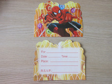 spiderman children cartoon birthday party invitation card