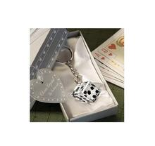 2015 newLas Vegas themed Chrome Keychain with Crystal Dice In Gift Box Wedding Favors+100pcs/Lot