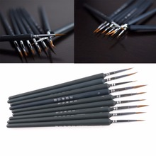 New 9Pcs Brush Pen For Sketched Lines Gouache Watercolor Paint Oil Painting