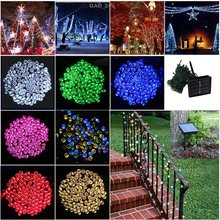 LED solar light outdoor 200LEDs 20M LED Strings solar panels powered with rechargeable battery for Holiday Christmas Party Dec(China)