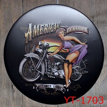 AMERICAN CLASSICS Round Shape signs IRON Wall Sticker Metal Tin Sign Coffee Shop Wall Decor Pub Round Plaque decor