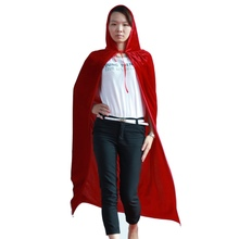 Hot Selling Gothic Hooded Velvet Long Cloak Wicca Robe Medieval Witchcraft Larp Red Cape(China)