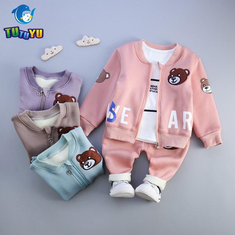 TUTUYU New Baby Girl clothing Sets kids 3PCS Coat+ T shirt + Pants children Cute Princess Animal Print Bow Baby Girl Plus Velvet<br>