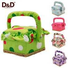 D&D Fashion Gift Box Vintage Wooden Fabric Storage Box Handmade Sewing Basket with Sewing Tools 4.7*4.7*3.7inch(China)