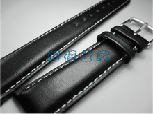 Free Shipping, Thick Material Men Calfskin Strap, 18MM/19MM/20MM /21MM/ 22MM Watch Band, Black + White Line Leather Strap