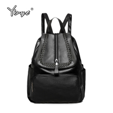 YBYT brand 2017 new casual girls preppy style school bag soft PU leather knitting solid women rucksack female shopping backpacks