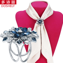 DOSHELY Classic Luxury Women Jewelry Silver-color Brooches Three circle Crystal flower Kerchief Shawl Scarf Scarves buckle clips