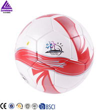 Standard size 5 soccer ball with the PU material football ball and the  red color adhesive football ball