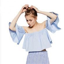 Summer Women Sexy Chiffon Off Shoulder Top Flare Sleeve Tank tops Tee Shirts Crop Top Cropped Blouses Cheap Clothes Clothing