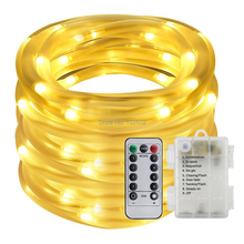 10M 100Leds Battery Powered Led Rope Tube String Lights Waterproof Outdoor Christmas Garden Path Fence Tree Lights with Remote(China)