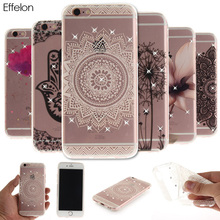 Effelon Soft TPU Case For iPhone 5 SE 5S 6 6s Crystal Rhinestone Patterned Silicone Phone Cover Cases for iPhone 6 s 7 8 Plus(China)