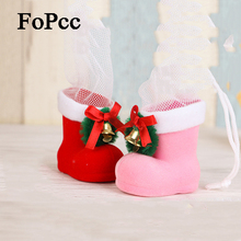 2Pcs New Lovely Mini Pink Red Boots Christmas Tree Pendant Holder Decor Xmas Decorations New Year Christmas Decorations For Home(China)