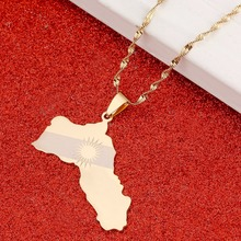 Kurdistan Region Map Pendant Necklaces Kurdish Flag Gold Color Koerdistan Jewelry For Women(China)