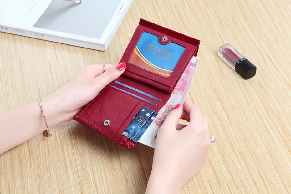 VICKAWEB Mini Wallet Women Genuine Leather Wallets Fashion Alligator Hasp Short Wallet Female Small Woman Wallets And Purses-IMG_6478