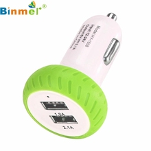 Top Quality Green Portable Mini Dual 2 Port 12V USB Auto Car Charger Fast Charging Adapter Adaptor For Samsung S7 Series APR27