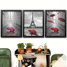DIY Diamond Painting Cross Stitch Needlework Diamond Mosaic Diamond Embroidery Paris Red Umbrella  Pattern Hobbies And Crafts