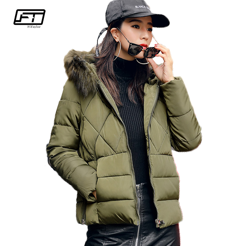 Fitaylor 2017 New Fui Collar Hooded Parkas Mujer Thick Cotton Winter Warm Jacket Women Fahsion Solid Slim Short Coat Cheap CoatsÎäåæäà è àêñåññóàðû<br><br>